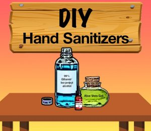 99% ethanol/isopropanol, aloe vera gel and essential oil for DIV Hand Sanitizers.
